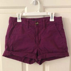 American Eagle purple high-waisted shorts